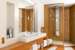 ensuite bathroom which shower